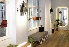 The Alfie Douglas flagship store in Shoreditch stocking an array of minimal leather bags Changing Spaces, Leather Bags, Minimalism, Studios, London, Store, Design, Tent