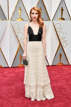 The Biggest Trend On The Oscars 2017 Red Carpet was Neutral Colors: Emma Roberts in vintage Armani Prive | coveteur.com