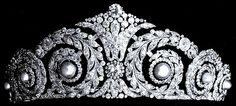 The Cartier Diamond and Pearl Tiara:  This gem belonged to Queen Victoria Eugenia, born a princess of Battenberg. One of the many grandchildren of Queen Victoria, she married King Alfonso XIII of Spain in 1906.  The tiara went to her daughter, Infanta Maria Cristina, Countess of Marone. And then it ended up back in the main royal line (some say it was purchased by and some say it was given to or inherited by King Juan Carlos), and is now worn by Queen Sofia.