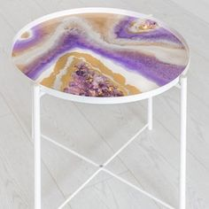 Original resin geode table   Etsy Resin Furniture, Cool Furniture, Painting Furniture, Amethyst Rock, Opal, Stainless Steel Table, Wood End Tables, Side Tables, Resin Artwork