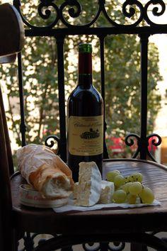 Paris balcony. The 3 B's... brie, baguette & Bordeaux Learn more about the wine regions of France.  Minus the Bordeaux pour moi.