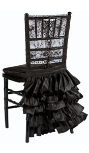 The Chantilly Lace Black Corset with Havana Skirt is a sexy, sleek and stylish addition to any glamorous event.  The top is made of lace with a corset tied back.  The skirt adds a bit of flair with layers of satin bustles.  #timelesstreasure