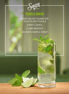 Think of the Sauza® Tequila Smash as the mojito's better tasting cousin. Mint, limes and only 100% blue agave tequila will do for this masterpiece. Come see what other recipes might peak your taste buds @ us.sauzatequila.com