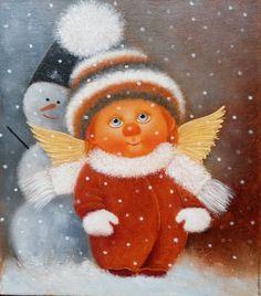 Купить Бабушка накутала - Картина маслом - бабушка накутала, ангелочек, ангел, солнечные ангелы