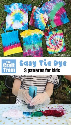 How to tie dye with kids – make these three simple tie dye patterns with our step by step tutorial with photos. Tie Dying is a fun and easy Summer craft kids can do at home! #fabricart #kidscrafts #kidsactivities #tiedye #fabricart #summercrafts #thecrafttrains Easy Diy Tie Dye, Homemade Tie Dye, Homemade Gifts, Tie Dye Tips, How To Tie Dye, Simple Tie Dye Patterns, Easy Patterns, Craft Activities For Kids, Craft Kids