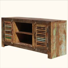 Primitive Hand Painted Patchwork Reclaimed Wood Media Console Cabinet