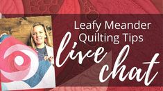 Leafy Meander Variations | Live Chat with Angela Walters - YouTube Quilting Rulers, Longarm Quilting, Free Motion Quilting, Quilting Tips, Machine Quilting Tutorial, Quilting Tutorials, Quilting Designs, Rag Quilt, Quilts