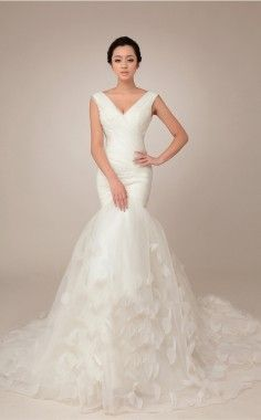 Sheath/Column Sheer NeckShort Sleeve Lace Court Train Wedding Dress - Wedding Dresses - Wedding Apparel