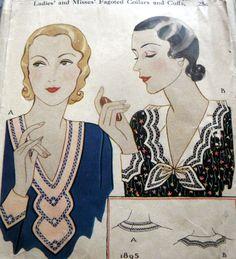 RARE VTG 1930s COLLAR & CUFFS McCALL Sewing Pattern