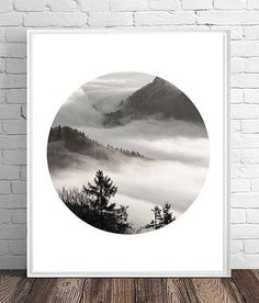 Printable Art, Art Download, Scandinavian, Minimalist Poster, Forest Fog Photograph, Black and White Landscape, Monochrome, Nature Print Geometric Art, Nature Prints, Flower Prints Art, Printable Art, Downloadable Art, Art, Black And White Landscape, Black And White, Abstract