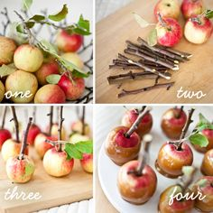 Day to Day Wonderments: twig mini caramel apples