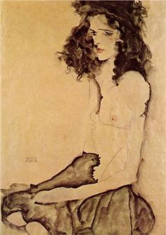 Girl in Black - Egon Schiele