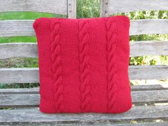 Hand Knitted Cushion Cover by CathsKnits on Etsy, $42.00