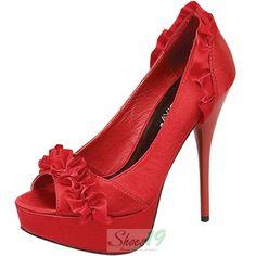 Lorane-40 Red Wild Diva Ruffle Peep Toe Pumps