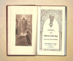 French Illustrated Prayer Book Litanies of Our Lady 1946 Brown Leather Missal Bible Religious Engraving Catholic Mass Religious Service
