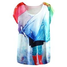 Cloud Galaxy Rain Painting T-Shirt with Round Neck ($8.11) ❤ liked on Polyvore featuring tops, t-shirts, galaxy tee, blue top, cosmic t shirt, round neck top et galaxy top