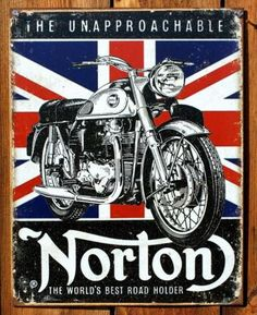 Norton-Motorcycle-Tin-Sign-Cafe-Racer-Sportster-Manx-500-cc-Atlas-Union-Jack
