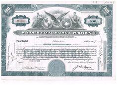 Pan American Airways Corp. 100 shares 1940