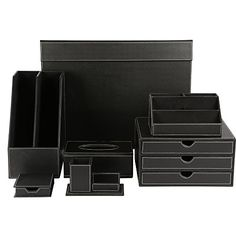 KINGFOM Office Desk Organizer Set T067PCSOffice Supply EcoFriendly Synthetic Leather Desk Set Including 5Compartment Desk Organizer3Drawer File Cabinet2slot Document Holder Pen Holder with Name Card Holder Memo Paper HolderTissue Box Holder and Desk Pad Mat T06Black >>> See this great product.