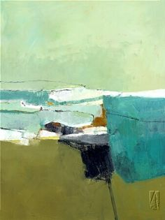 art: By the Sea 1, artist: Jenny Nelson Another ocean inspired abstract painting Love the blues!