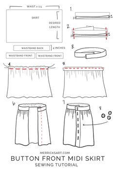 How to make a midi button down skirt Midi & Maxi Dresses Try this easy DIY to make your Sewing Patterns TipsWhat About Amazing Easy Sewing Projects ?Discover recipes, home ideas, style inspiration and other ideas to try.Easy 50 Sewing projects are av Skirt Patterns Sewing, Clothing Patterns, Skirt Sewing, Coat Patterns, Womens Skirt Pattern, Girls Skirt Patterns, Skirt Pattern Free, Pants Pattern, Blouse Patterns