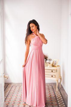 Bodenlanges Kleid für Hochzeitsgäste und Brautjungfer in Rosa zum Wickeln / floor-length rose quartz maxi dress for wedding guests and bridesmaids made by Mimetik BCN via DaWanda.com
