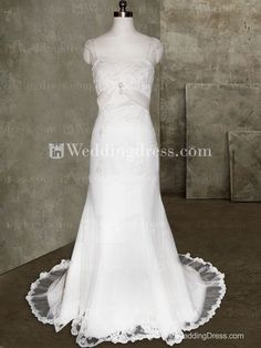 Graceful Beaded-lace Appliqued Bridal Gown with Corset Back BG114