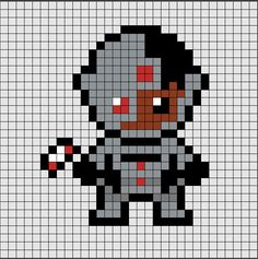 Patrón de Hama Beads Midi de Cyborg, uno de los protagonistas de La liga de la Justicia 🤖. Si quieres saber como se hace, ya sea en Hama Beads o Pixel Hobby, haz click en el enlace.