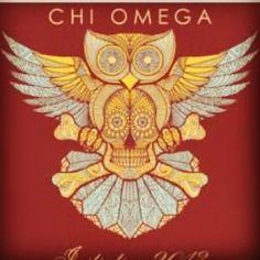 Chi Omega owl with skull design Sorority Life, Sorority Shirts, Chi Omega Recruitment, Die O, Chi Omega Crafts, Sigma Alpha Epsilon, Sorority Crafts, Skull And Crossbones, I Tattoo