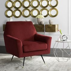 Safavieh Mid-Century Modern Nynette Red Velvet Accent Chair