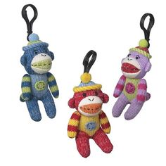 Sock Monkey Plush Toy Clip-ons, Multi Pattern Red                                                                                                                                                                                 More