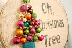 Cute project with ornaments on burlap. It was made to decorate her daughter's room for Christmas... Something I was JUST thinking about doing!!!!