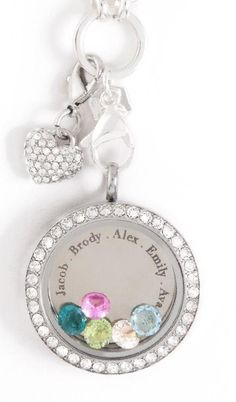 Add your kids or grandkids namesand birthstones to your locket with our in{script}ions collection plates!