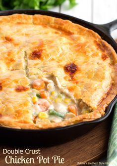 "This Double Crust Chicken Pot Pie is made using one of my favorite kitchen tools, my cast iron skillet. I really don't know what I would do without my cast iron skillets they are my ""go to"" when it comes to pans in my kitchen. They hold and distribute t Cast Iron Skillet Cooking, Iron Skillet Recipes, Cast Iron Recipes, Skillet Chicken Pot Pie Recipe, Chicken Pot Pies, Skillet Dinners, Double Crust Chicken Pot Pie Recipe, Cooking With Cast Iron, Cast Iron Chicken Recipes"