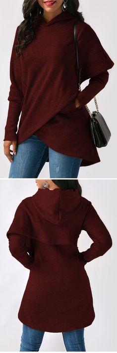 Pocket Asymmetric Hem Long Sleeve Wine Red Hoodie