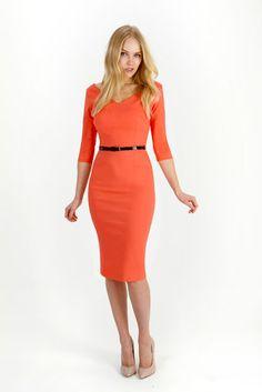 Coral Pencil Dress***