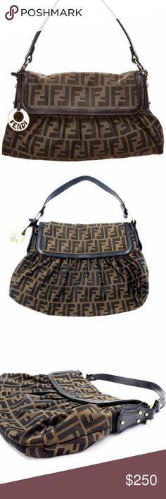 c856b3068121 Authentic FENDI Zucca Borsa Chef Piccola Handbag Gorgeous preloved  condition FENDI Brown Zucca print Chef Shoulder