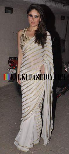http://www.kalkifashion.com/ Kareena Kapoor was seen leaving the Mehboob Studio in Amrita Thakur saree and blouse by Arpita Mehta