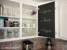 Painting cabinets?  Paint the inside too and on the door paint chalkboard paint.  Or that dry erase stuff.  A DIY Blogger's Guide to Paint Products That Work! Great info to read before you buy!