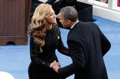 President Obama greets singer Beyonce at the inauguration 2013.