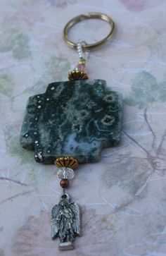 KEY Fob Key Ring Key Chain with Large Stone by BlueMantleCreations, $27.00