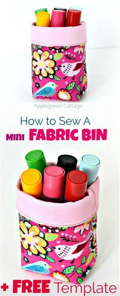 A mini fabric bin tutorial with a FREE template is a beginner sewing project that uses only little material and doesn't take a lot of time to complete . Easily adjustable, simple and beautiful. Make a unique, cute DIY mini fabric bin with a fold-over top.