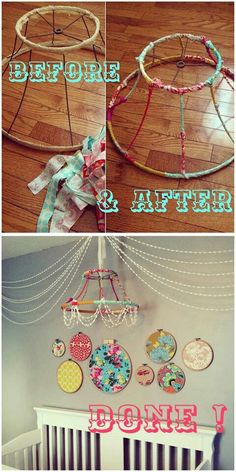 DIY chandelier {pom-poms + hoops)--love this chandelier idea.Would be perfect for some random decoration hanging in the corner of the living room Old Lamp Shades, Diy Bebe, Old Lamps, Diy Chandelier, Chandeliers, Nursery Chandelier, Mobile Chandelier, Ideias Diy, Home And Deco