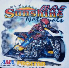 Sunshine Nationals Motorcycle Drag Racing 2000 Shirt XL Larry Spiderman McBride #NOTAG #GraphicTee Vintage Rock Tees, Drag Racing, Larry, Spiderman, Graphic Tees, Sunshine, Motorcycle, Bike, Shirt