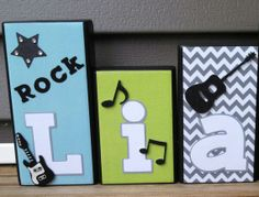 Personalized Wood Name Blocks Liam rock star- Nursery name Boy Blocks Girl Blocks Nursery decor Baby Blocks Kids decor Gifts on Etsy, $7.00
