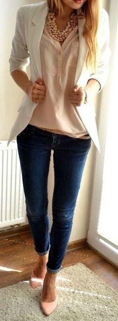 Blush Blouse + White Blazer