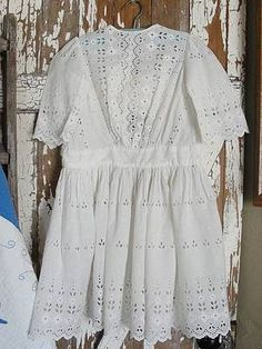 """Antique Victorian Edwardian Child's Dress ~25""""long  Broderie Anglaise Lace at VintageBlessings"""