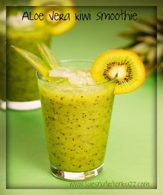 Aloe Vera Kiwi Mint Green Detox Smoothie... Looks good!  But I might decrease the aloe juice - it says a cup, I generally do well with 2Tbsp. a day!