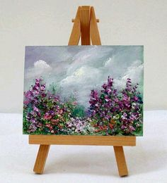 Spring Scene With Moving miniature painting gift Blooming Flowers, Spring Flowers, Purple Flowers, White Flowers, Mini Paintings, Original Paintings, Small Canvas, Canvas Art, Artist Monet