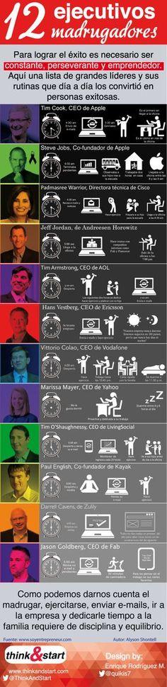 12 ejecutivos muy madrugadores #infografia #infographic #entrepreneurship #arteparaempresa #activate #sueña #emprendimiento #Marketing #motivacion #arteparaempresa